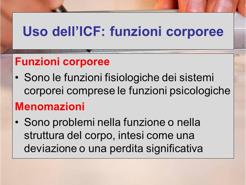 Uso dellICF: funzioni corporee Funzioni corporee Sono le funzioni fisiologiche dei sistemi corporei comprese le funzioni psicologiche Menomazioni Sono