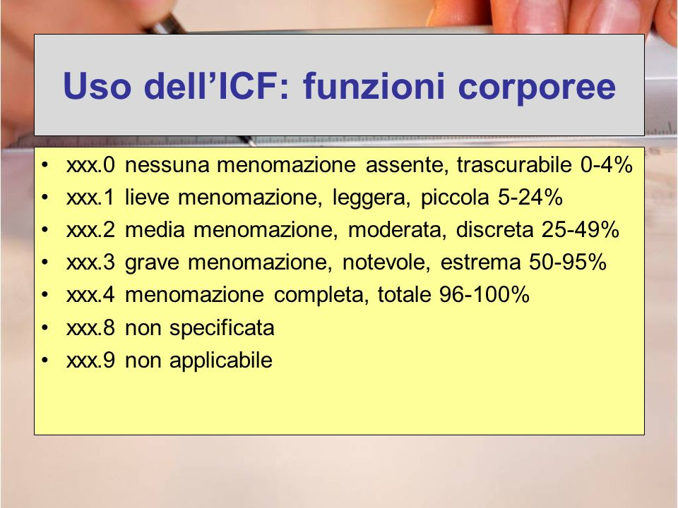 Uso dellICF: funzioni corporee xxx.0 nessuna menomazione assente, trascurabile 0-4% xxx.1 lieve menomazione, leggera, piccola 5-24% xxx.2 media menoma