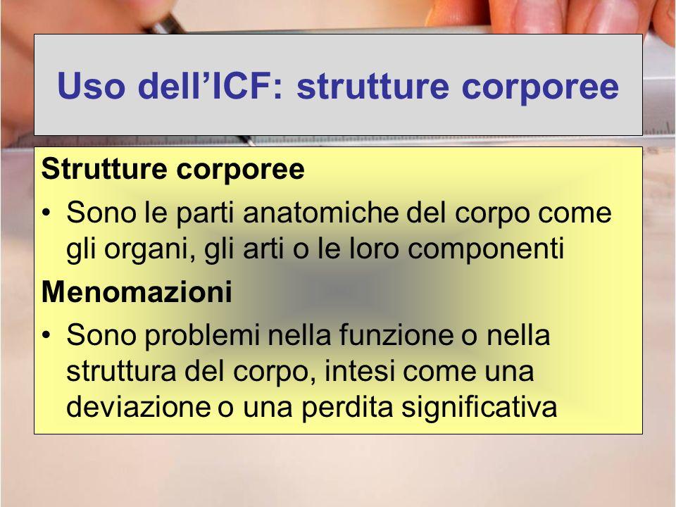 Uso dellICF: strutture corporee Strutture corporee Sono le parti anatomiche del corpo come gli organi, gli arti o le loro componenti Menomazioni Sono