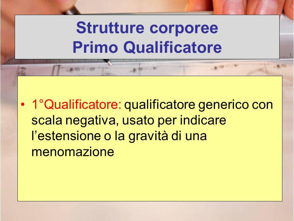 Strutture corporee Primo Qualificatore 1°Qualificatore: qualificatore generico con scala negativa, usato per indicare lestensione o la gravità di una
