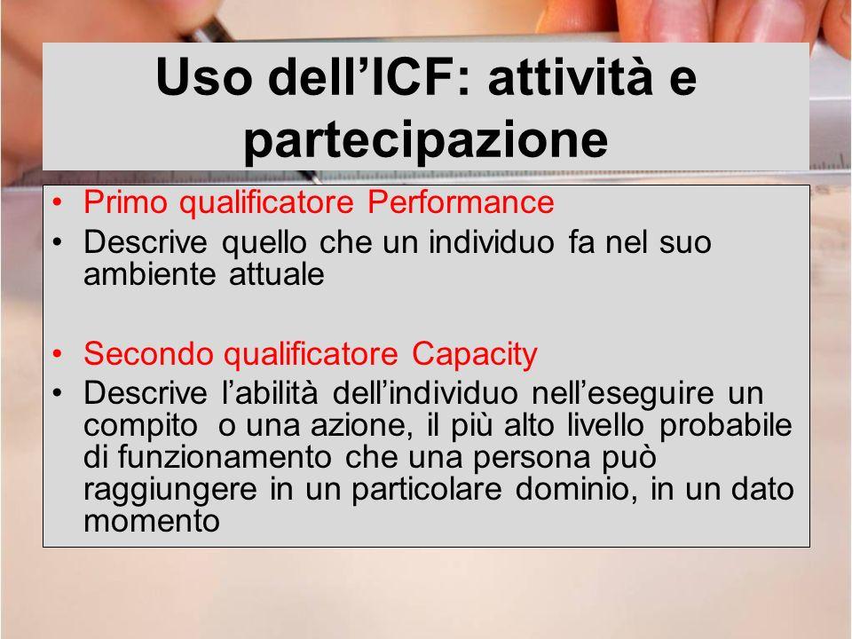 Uso dellICF: attività e partecipazione Primo qualificatore Performance Descrive quello che un individuo fa nel suo ambiente attuale Secondo qualificat
