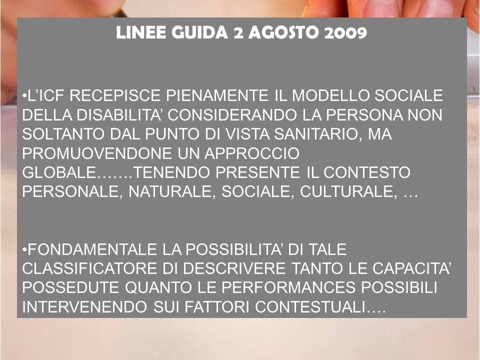 LINEE GUIDA 2 AGOSTO 2009 LICF RECEPISCE PIENAMENTE IL MODELLO SOCIALE DELLA DISABILITA CONSIDERANDO LA PERSONA NON SOLTANTO DAL PUNTO DI VISTA SANITA