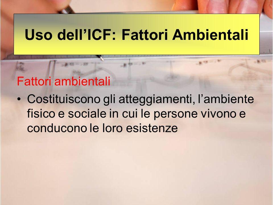 Uso dellICF: Fattori Ambientali Fattori ambientali Costituiscono gli atteggiamenti, lambiente fisico e sociale in cui le persone vivono e conducono le