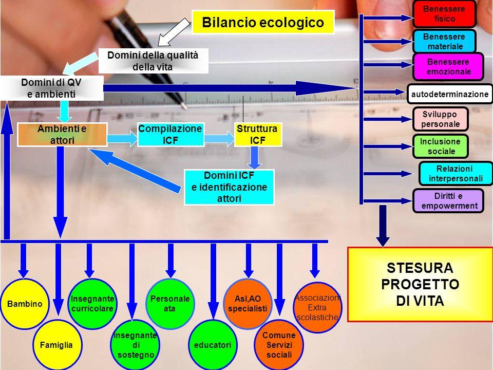 Asl,AO specialisti Bilancio ecologico Domini della qualità della vita Ambienti e attori Compilazione ICF Struttura ICF Domini ICF e identificazione at
