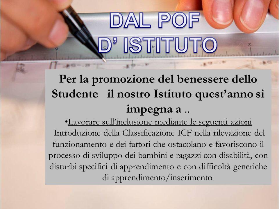 Per la promozione del benessere dello Studente il nostro Istituto questanno si impegna a.. Lavorare sullinclusione mediante le seguenti azioni Introdu
