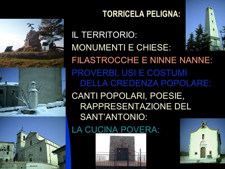 04/01/20143 TORRICELA PELIGNA: IL TERRITORIO: MONUMENTI E CHIESE: FILASTROCCHE E NINNE NANNE: PROVERBI, USI E COSTUMI DELLA CREDENZA POPOLARE: CANTI P