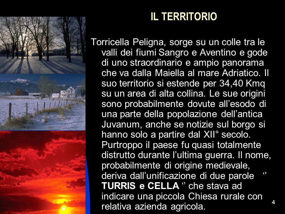 04/01/20144 IL TERRITORIO Torricella Peligna, sorge su un colle tra le valli dei fiumi Sangro e Aventino e gode di uno straordinario e ampio panorama