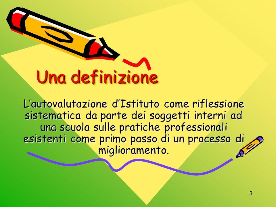 3 Una definizione Lautovalutazione dIstituto come riflessione sistematica da parte dei soggetti interni ad una scuola sulle pratiche professionali esi