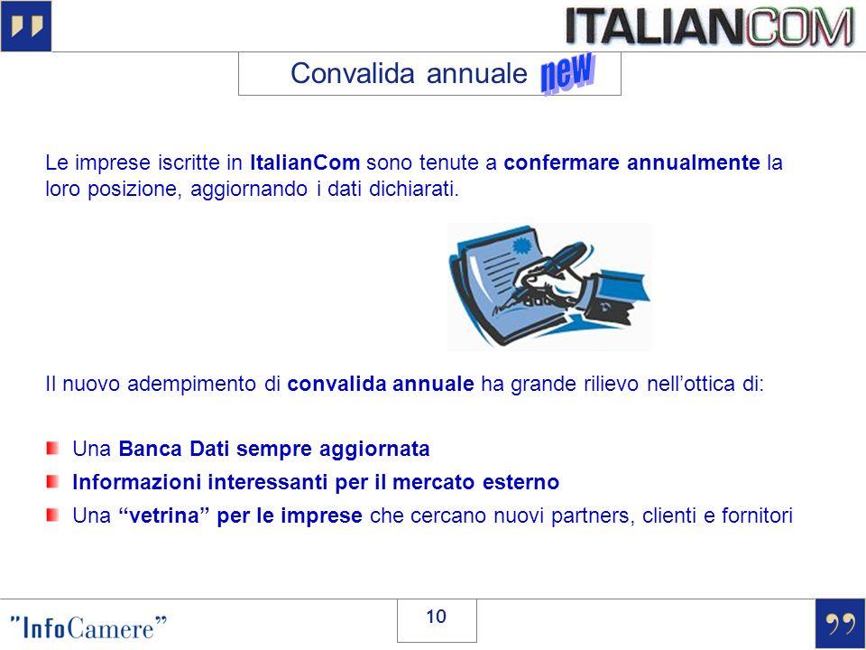 10 Convalida annuale Le imprese iscritte in ItalianCom sono tenute a confermare annualmente la loro posizione, aggiornando i dati dichiarati. Il nuovo