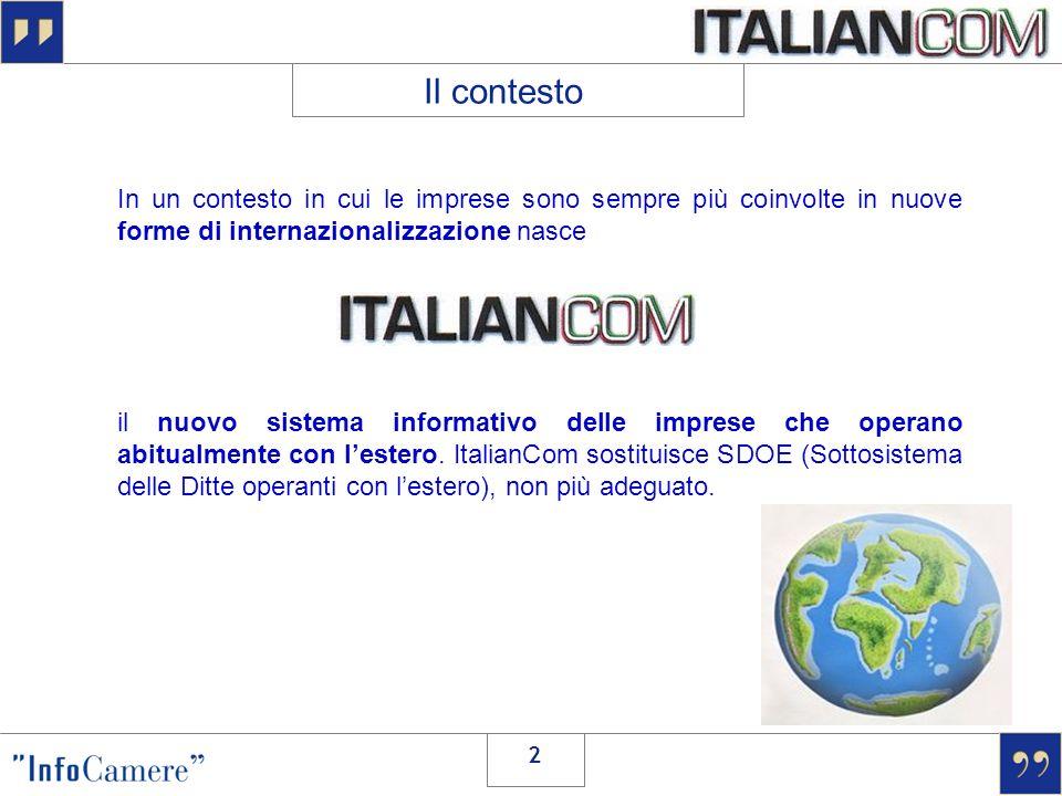 2 In un contesto in cui le imprese sono sempre più coinvolte in nuove forme di internazionalizzazione nasce il nuovo sistema informativo delle imprese