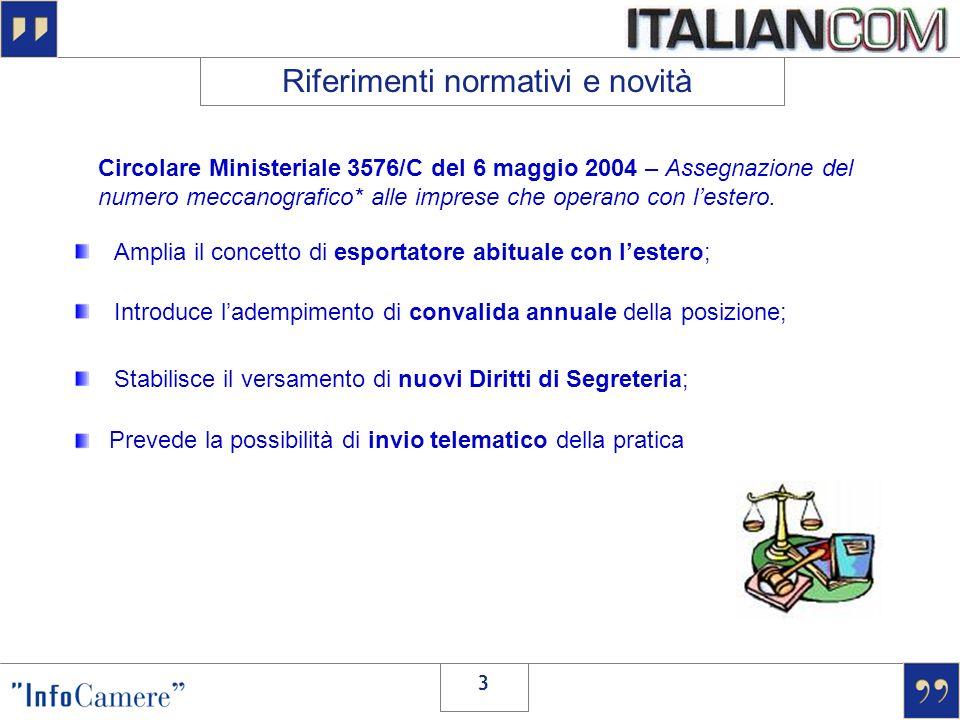 3 Circolare Ministeriale 3576/C del 6 maggio 2004 – Assegnazione del numero meccanografico* alle imprese che operano con lestero. Riferimenti normativ