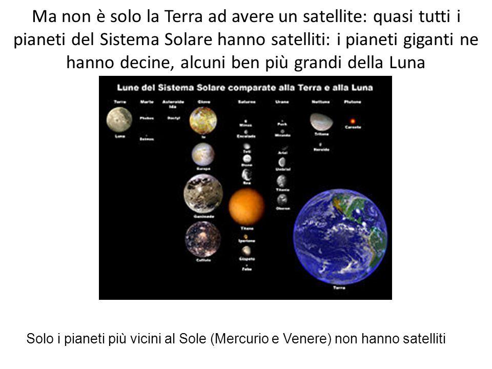 Ma non è solo la Terra ad avere un satellite: quasi tutti i pianeti del Sistema Solare hanno satelliti: i pianeti giganti ne hanno decine, alcuni ben