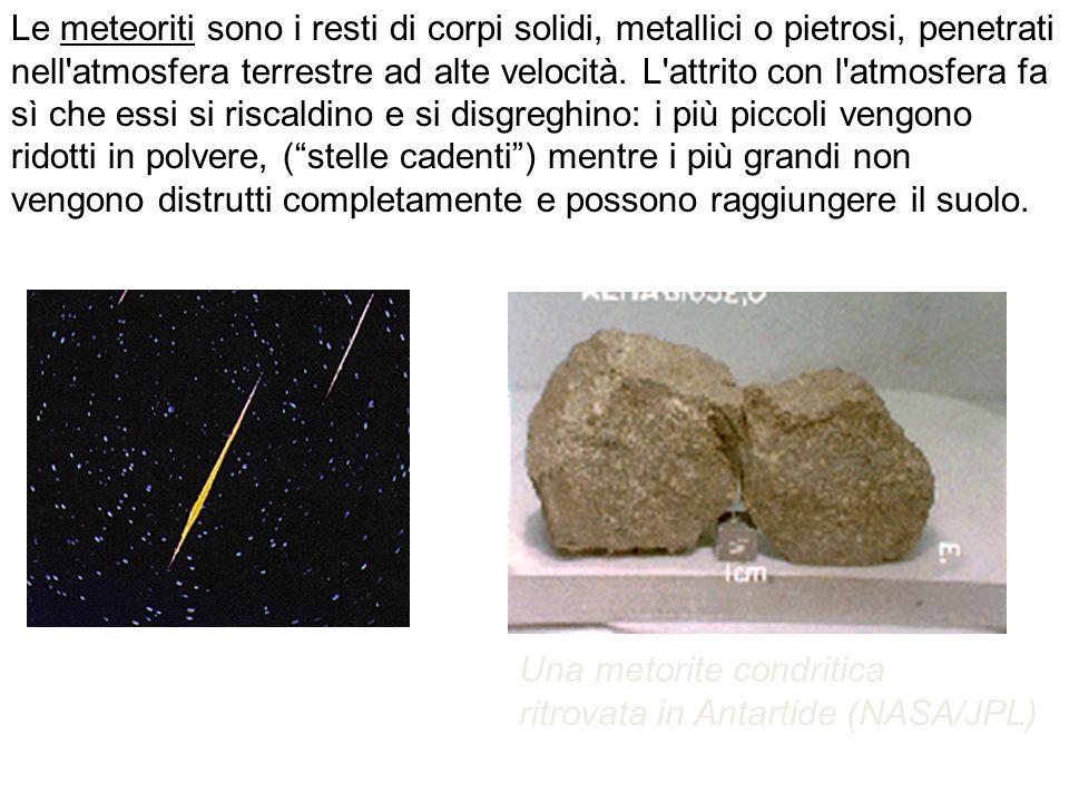 Le meteoriti sono i resti di corpi solidi, metallici o pietrosi, penetrati nell'atmosfera terrestre ad alte velocità. L'attrito con l'atmosfera fa sì