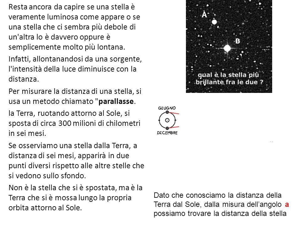 Resta ancora da capire se una stella è veramente luminosa come appare o se una stella che ci sembra più debole di un'altra lo è davvero oppure è sempl