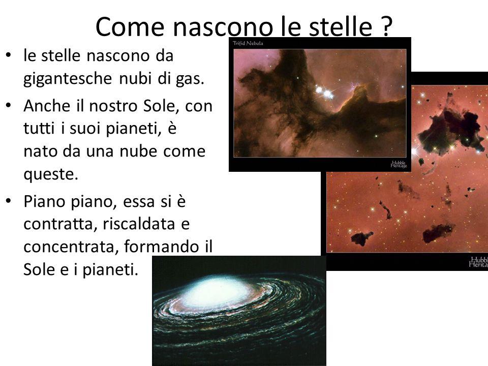 Come nascono le stelle ? le stelle nascono da gigantesche nubi di gas. Anche il nostro Sole, con tutti i suoi pianeti, è nato da una nube come queste.