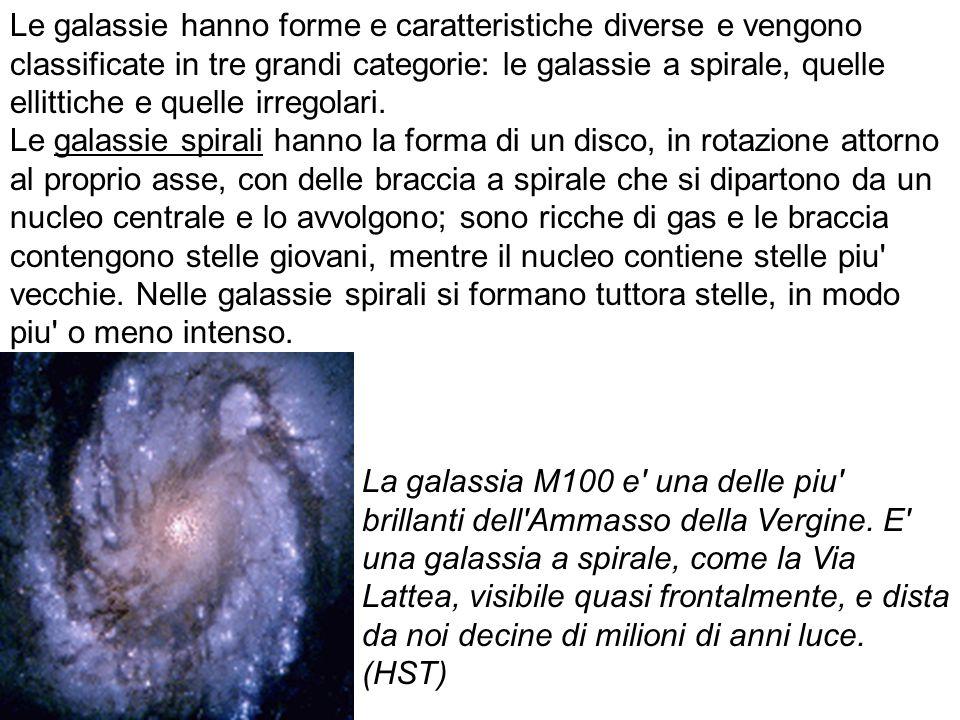 Le galassie hanno forme e caratteristiche diverse e vengono classificate in tre grandi categorie: le galassie a spirale, quelle ellittiche e quelle ir