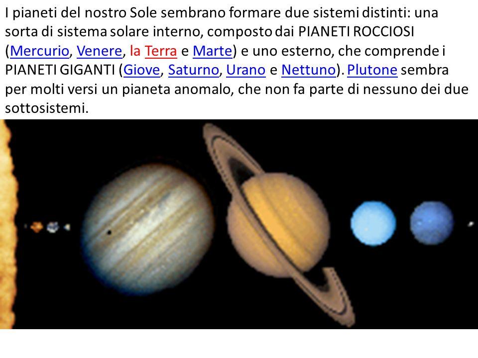 I pianeti del nostro Sole sembrano formare due sistemi distinti: una sorta di sistema solare interno, composto dai PIANETI ROCCIOSI (Mercurio, Venere,