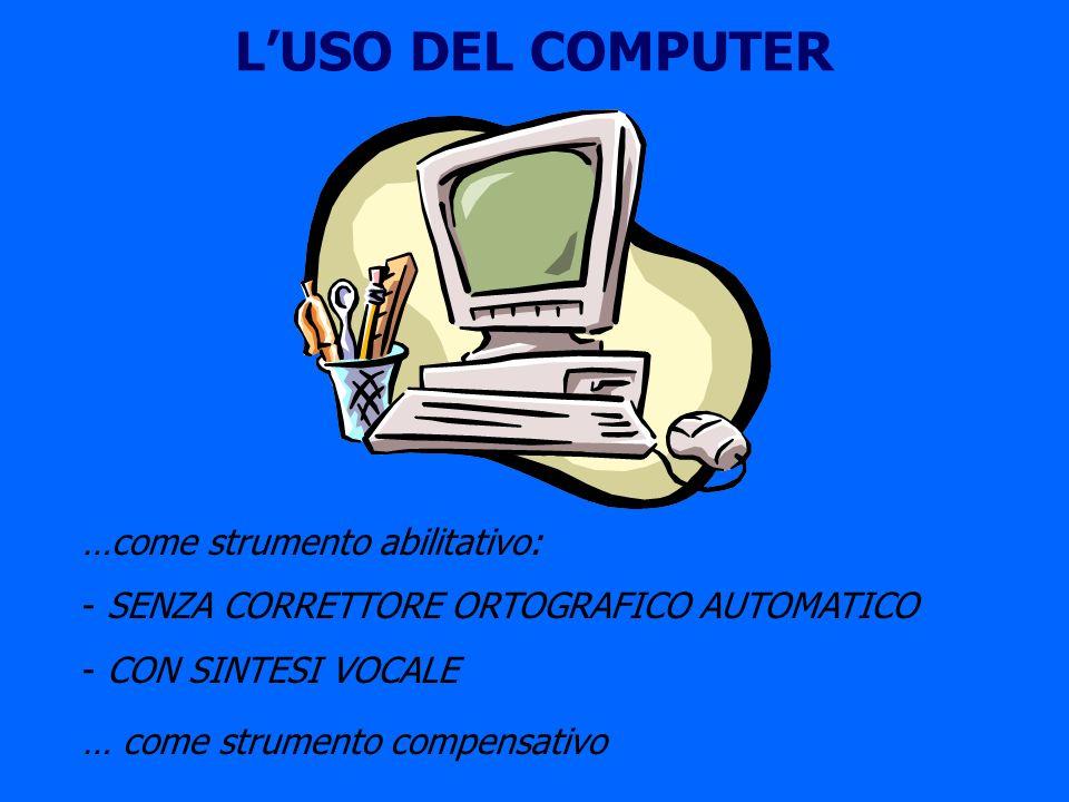 LUSO DEL COMPUTER …come strumento abilitativo: - SENZA CORRETTORE ORTOGRAFICO AUTOMATICO - CON SINTESI VOCALE … come strumento compensativo