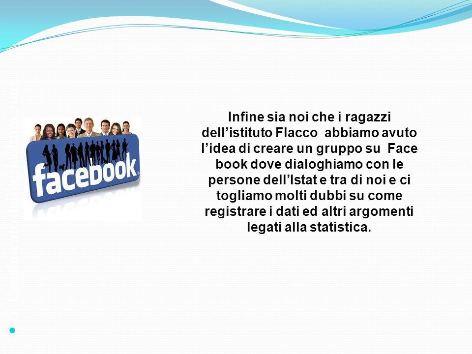 6° Censimento dellagricoltura 2010 Infine sia noi che i ragazzi dellistituto Flacco abbiamo avuto lidea di creare un gruppo su Face book dove dialoghi