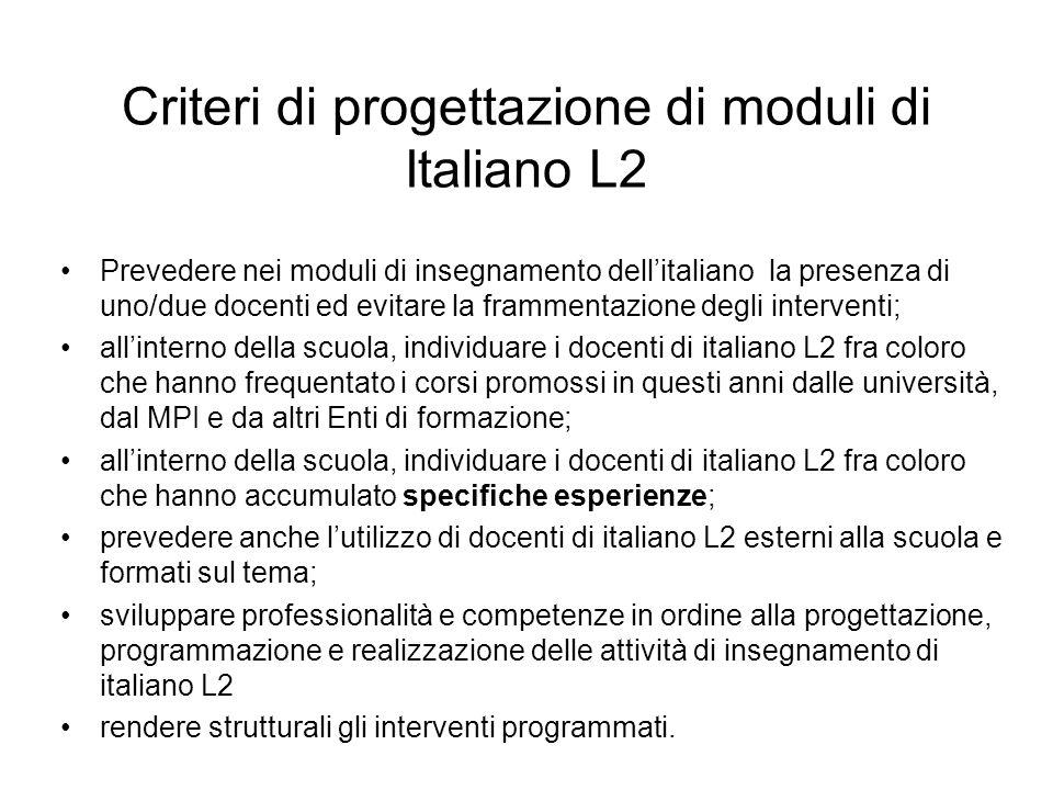 Criteri di progettazione di moduli di Italiano L2 Prevedere nei moduli di insegnamento dellitaliano la presenza di uno/due docenti ed evitare la framm