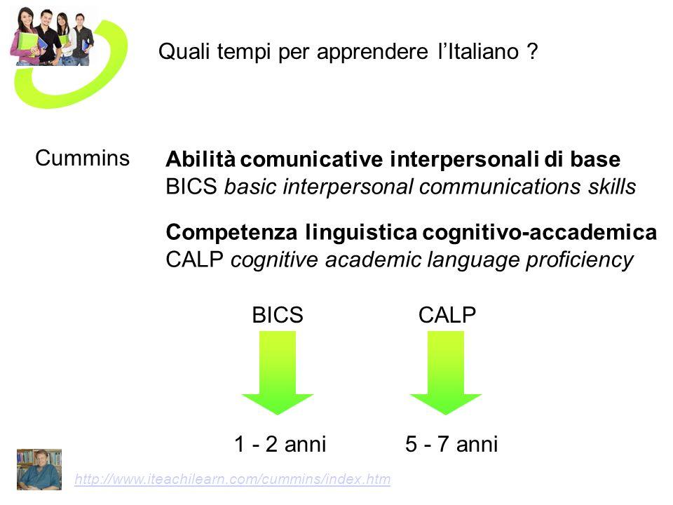 Quali tempi per apprendere lItaliano ? Abilità comunicative interpersonali di base BICS basic interpersonal communications skills Competenza linguisti