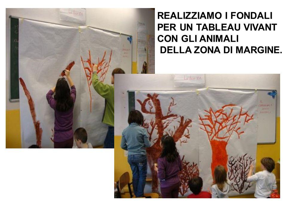 REALIZZIAMO I FONDALI PER UN TABLEAU VIVANT CON GLI ANIMALI DELLA ZONA DI MARGINE.