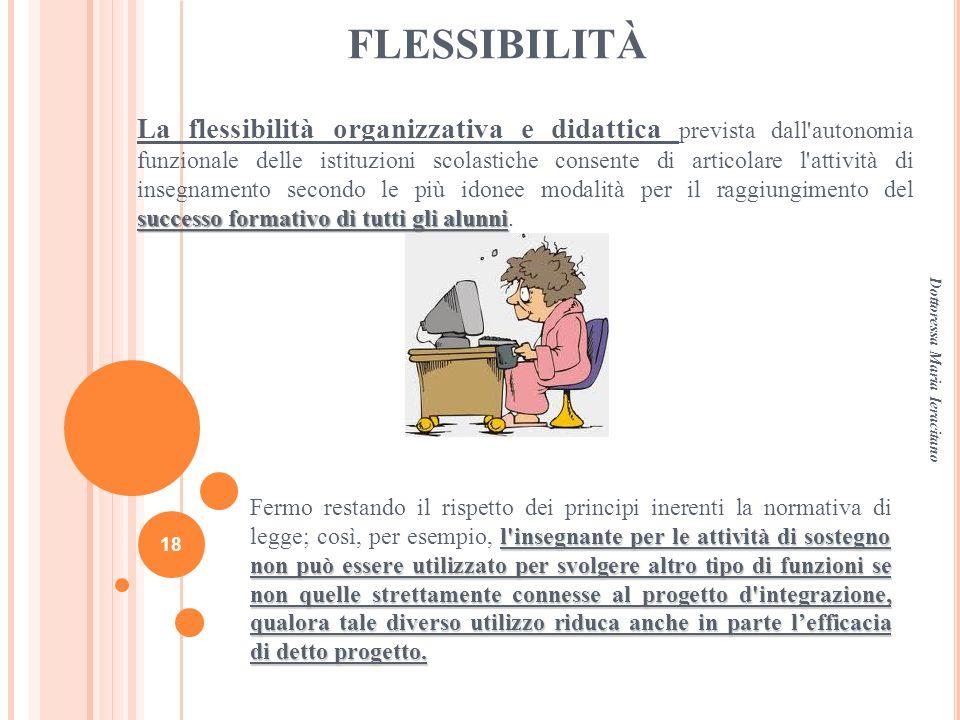 FLESSIBILITÀ successo formativo di tutti gli alunni La flessibilità organizzativa e didattica prevista dall'autonomia funzionale delle istituzioni sco