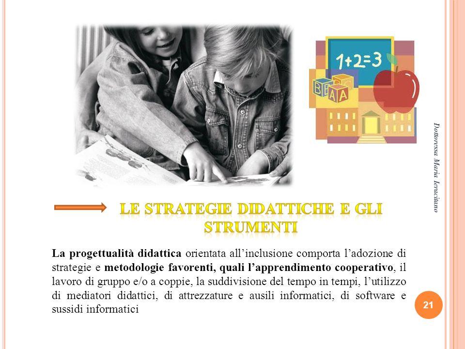 Dottoressa Maria Ieracitano 21 La progettualità didattica orientata allinclusione comporta ladozione di strategie e metodologie favorenti, quali lappr