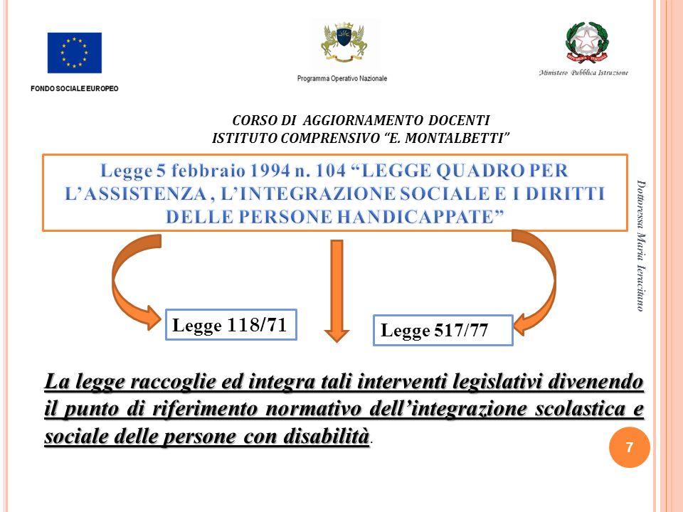 Dottoressa Maria Ieracitano 7 CORSO DI AGGIORNAMENTO DOCENTI ISTITUTO COMPRENSIVO E. MONTALBETTI Legge 118/71 Legge 517/77 La legge raccoglie ed integ