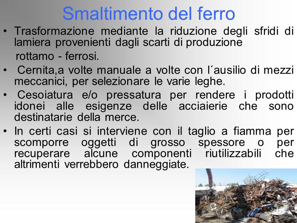 Smaltimento del ferro Trasformazione mediante la riduzione degli sfridi di lamiera provenienti dagli scarti di produzione rottamo - ferrosi. Cernita,a