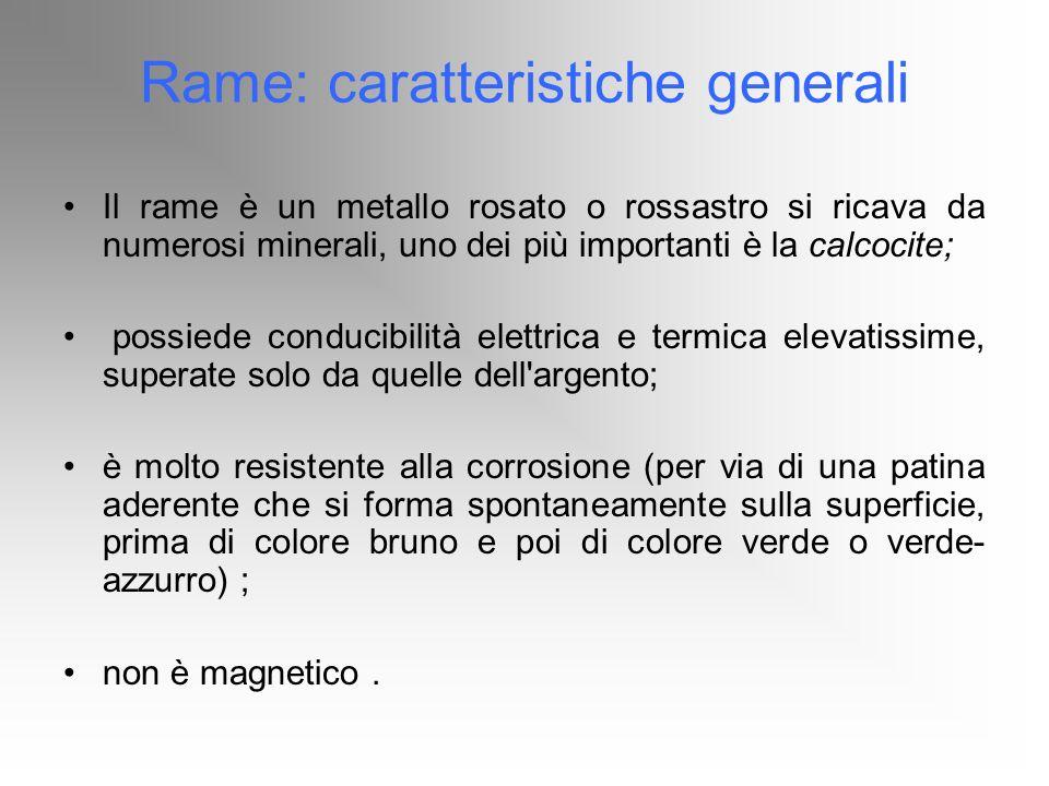 Rame: caratteristiche generali Il rame è un metallo rosato o rossastro si ricava da numerosi minerali, uno dei più importanti è la calcocite; possiede