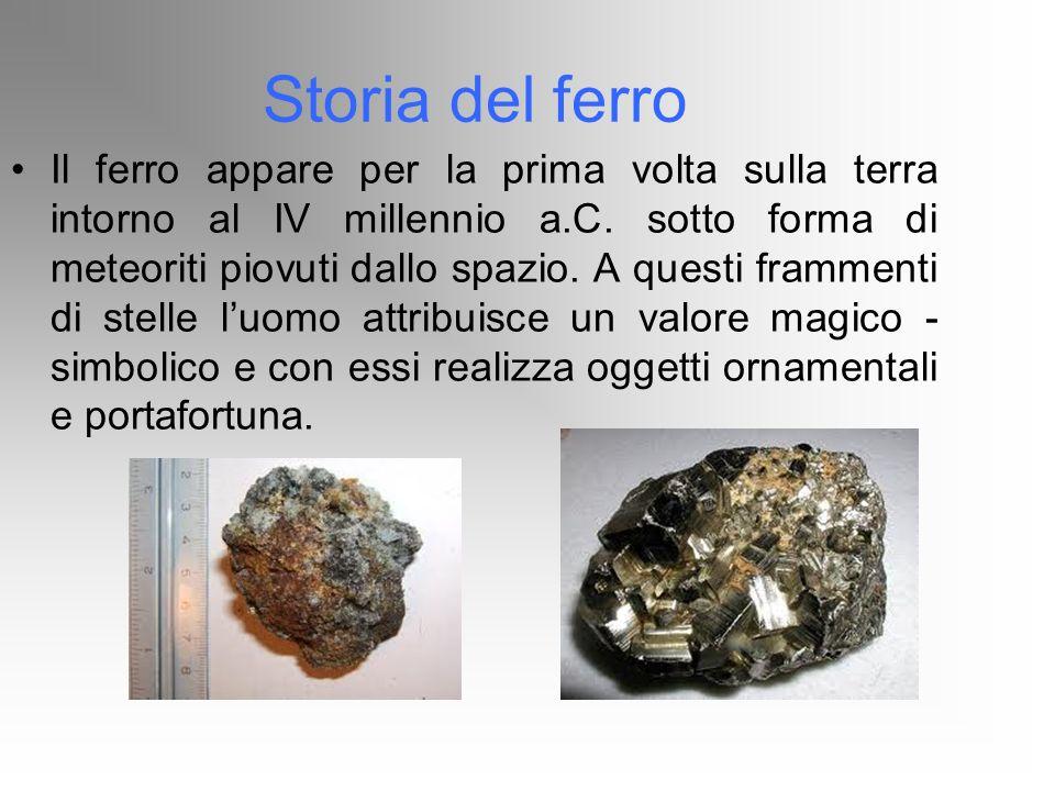 Storia del ferro Il ferro appare per la prima volta sulla terra intorno al IV millennio a.C. sotto forma di meteoriti piovuti dallo spazio. A questi f