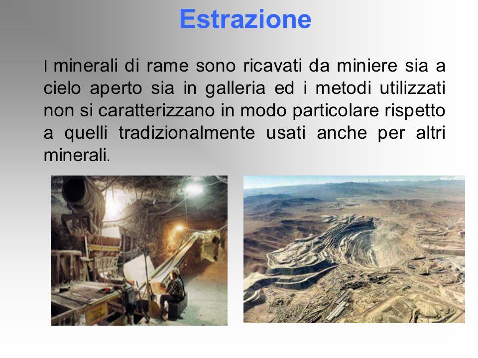 Estrazione I minerali di rame sono ricavati da miniere sia a cielo aperto sia in galleria ed i metodi utilizzati non si caratterizzano in modo partico