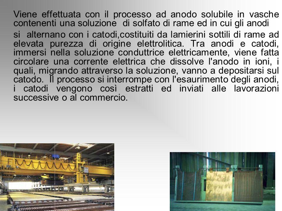 Raffinazione elettrolitica Viene effettuata con il processo ad anodo solubile in vasche contenenti una soluzione di solfato di rame ed in cui gli anod