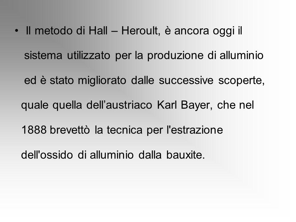 Il metodo di Hall – Heroult, è ancora oggi il sistema utilizzato per la produzione di alluminio ed è stato migliorato dalle successive scoperte, quale