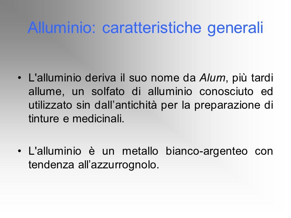 Alluminio: caratteristiche generali L'alluminio deriva il suo nome da Alum, più tardi allume, un solfato di alluminio conosciuto ed utilizzato sin dal
