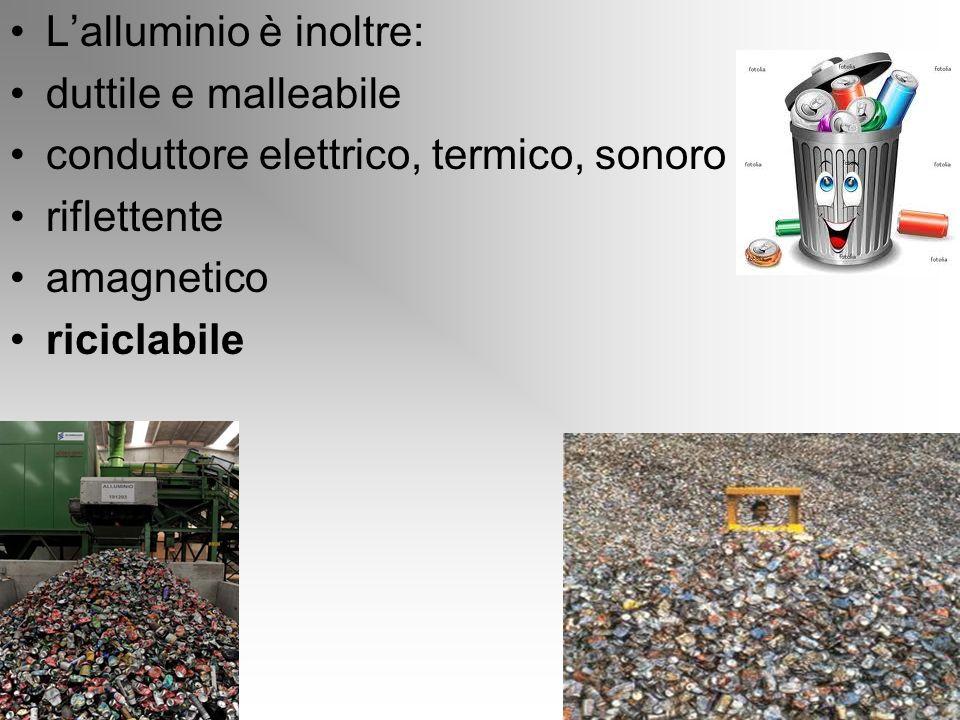 Lalluminio è inoltre: duttile e malleabile conduttore elettrico, termico, sonoro riflettente amagnetico riciclabile
