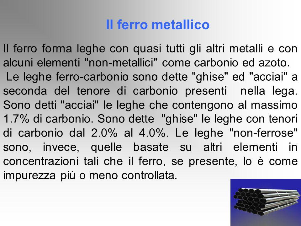 Il ferro metallico Il ferro forma leghe con quasi tutti gli altri metalli e con alcuni elementi