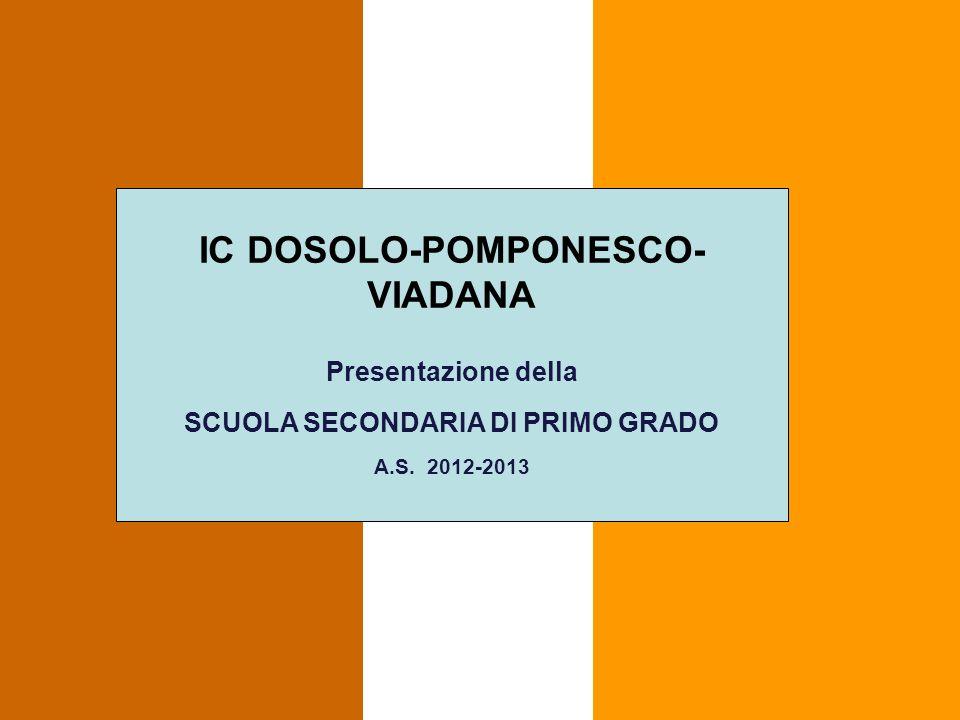 IC DOSOLO-POMPONESCO- VIADANA Presentazione della SCUOLA SECONDARIA DI PRIMO GRADO A.S. 2012-2013
