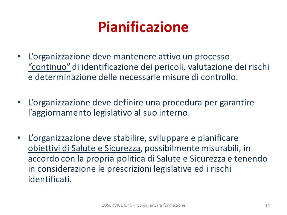 Pianificazione Lorganizzazione deve mantenere attivo un processo continuo di identificazione dei pericoli, valutazione dei rischi e determinazione del