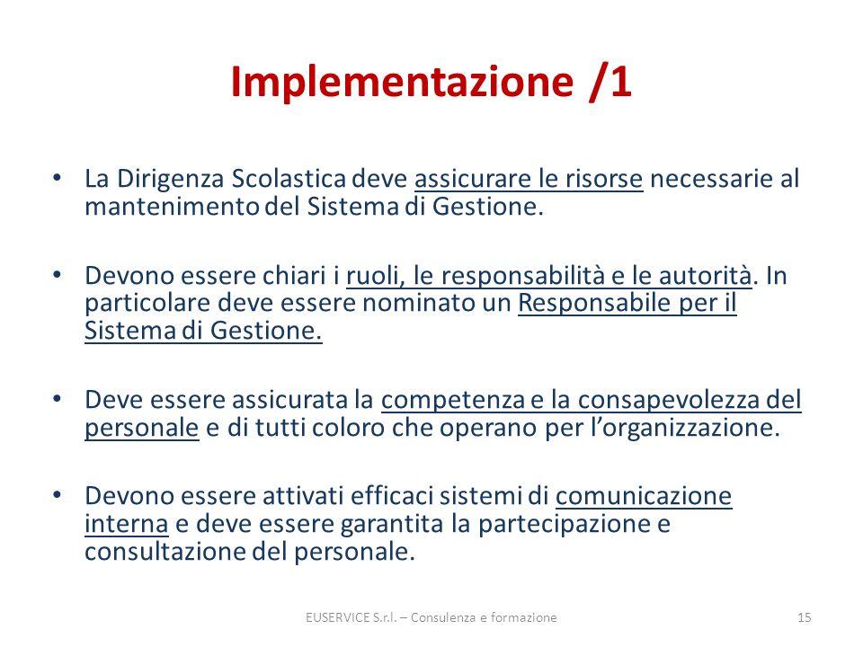 Implementazione /1 La Dirigenza Scolastica deve assicurare le risorse necessarie al mantenimento del Sistema di Gestione. Devono essere chiari i ruoli
