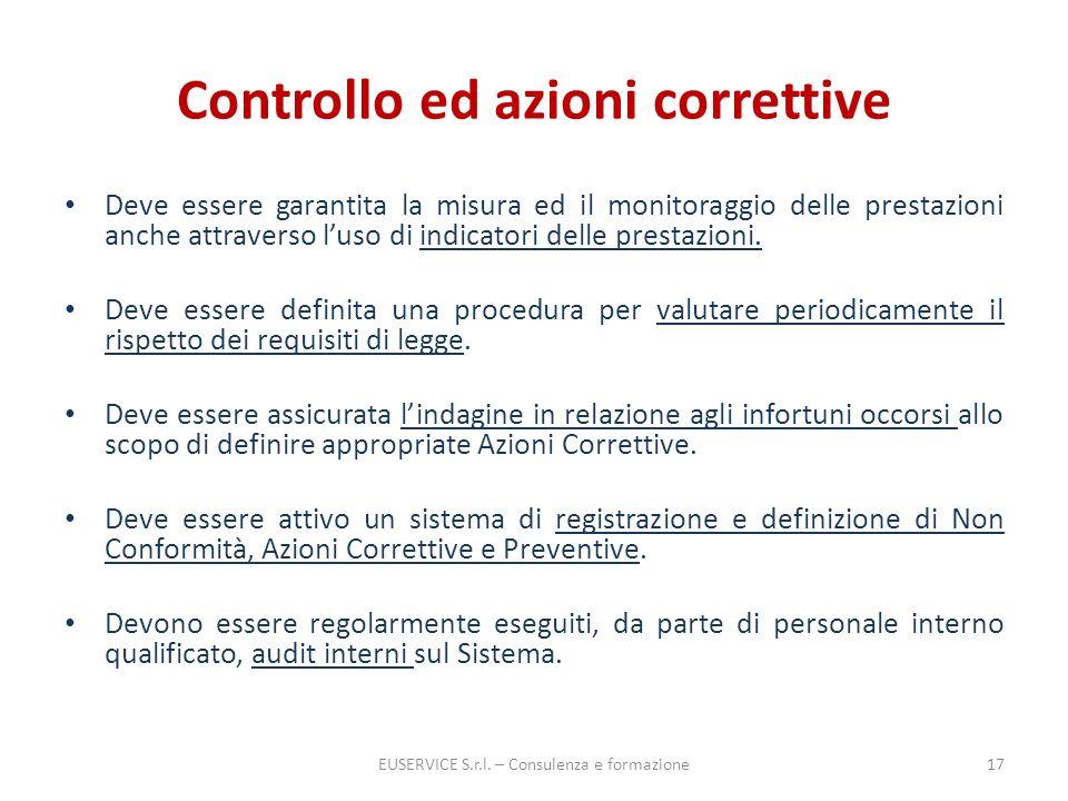 Controllo ed azioni correttive Deve essere garantita la misura ed il monitoraggio delle prestazioni anche attraverso luso di indicatori delle prestazi