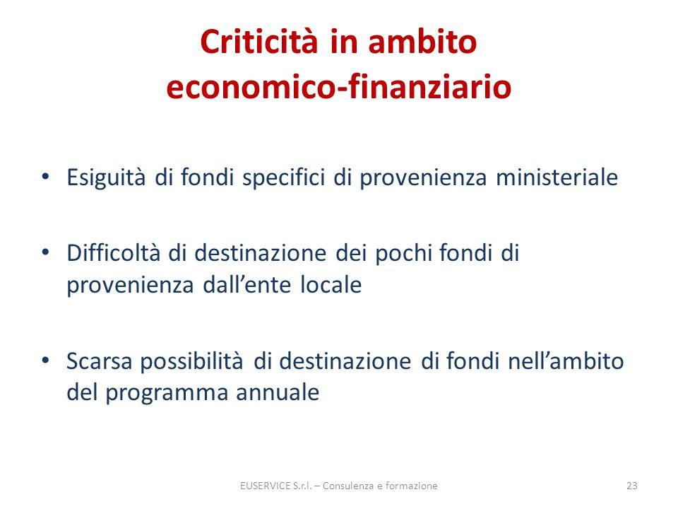 Criticità in ambito economico-finanziario Esiguità di fondi specifici di provenienza ministeriale Difficoltà di destinazione dei pochi fondi di proven