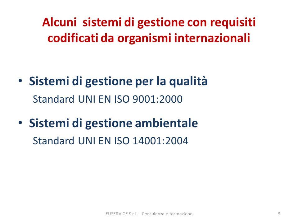 Alcuni sistemi di gestione con requisiti codificati da organismi internazionali Sistemi di gestione per la qualità Standard UNI EN ISO 9001:2000 Siste