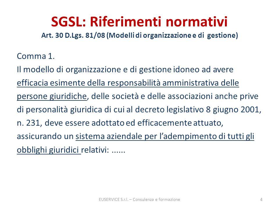 SGSL: Riferimenti normativi Art. 30 D.Lgs. 81/08 (Modelli di organizzazione e di gestione) Comma 1. Il modello di organizzazione e di gestione idoneo