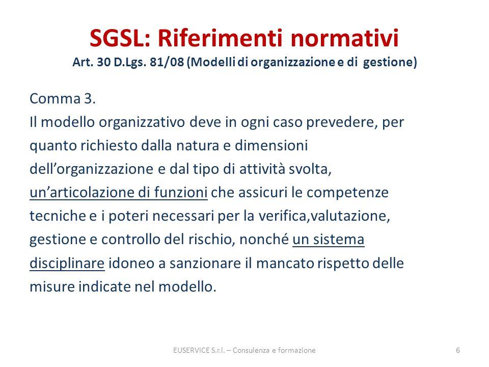 SGSL: Riferimenti normativi Art. 30 D.Lgs. 81/08 (Modelli di organizzazione e di gestione) Comma 3. Il modello organizzativo deve in ogni caso prevede