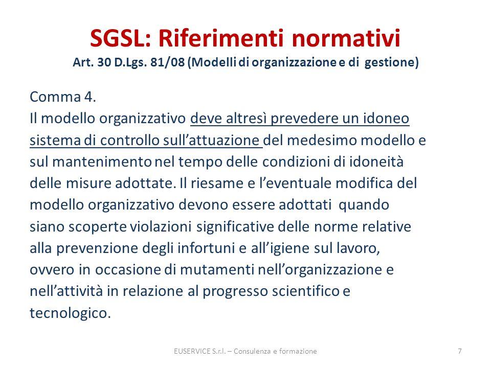 SGSL: Riferimenti normativi Art. 30 D.Lgs. 81/08 (Modelli di organizzazione e di gestione) Comma 4. Il modello organizzativo deve altresì prevedere un