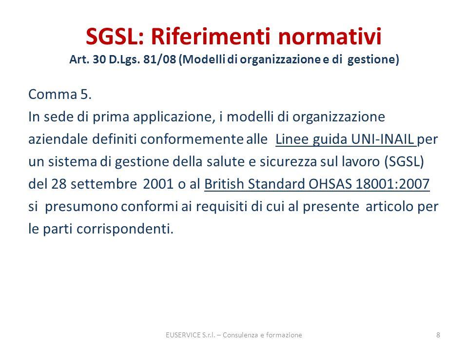 SGSL: Riferimenti normativi Art. 30 D.Lgs. 81/08 (Modelli di organizzazione e di gestione) Comma 5. In sede di prima applicazione, i modelli di organi