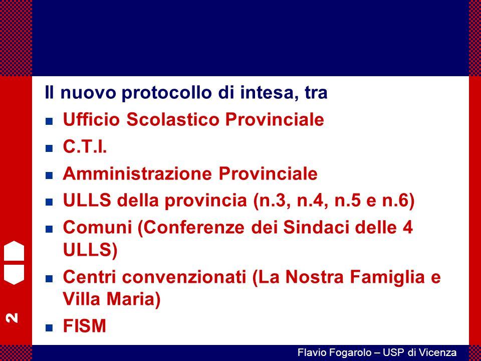 2 Flavio Fogarolo – USP di Vicenza Il nuovo protocollo di intesa, tra n Ufficio Scolastico Provinciale n C.T.I.