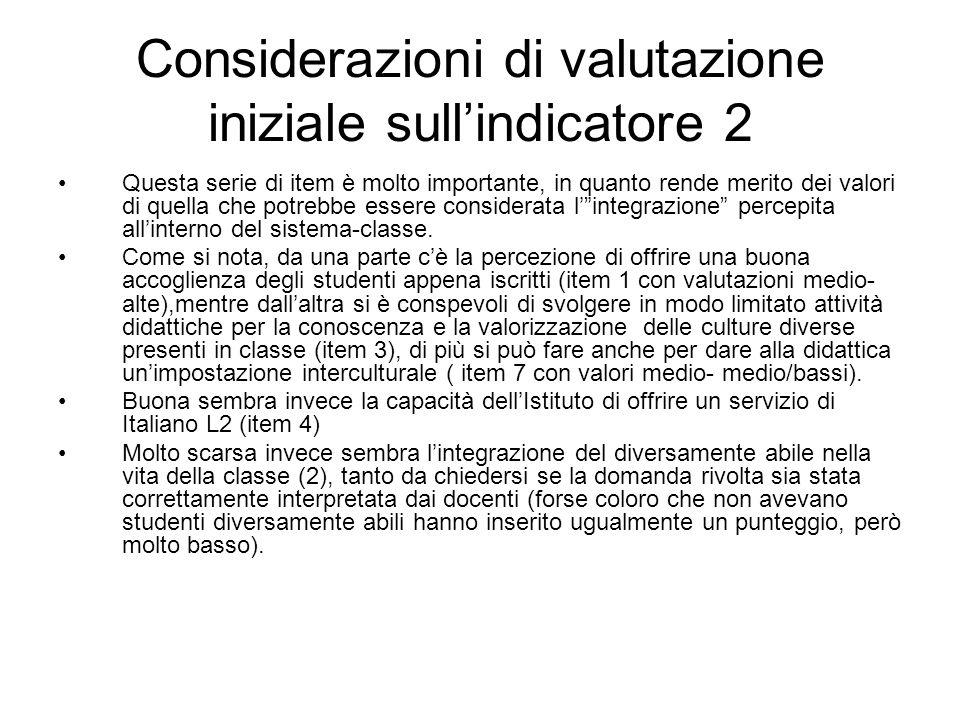 Considerazioni di valutazione iniziale sullindicatore 2 Questa serie di item è molto importante, in quanto rende merito dei valori di quella che potre
